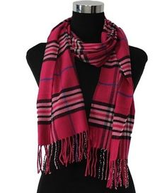 #Fashion #Plaids #Checks #Pashmina Long Shawl #Scarf Wrap Fringe in Hot Pink