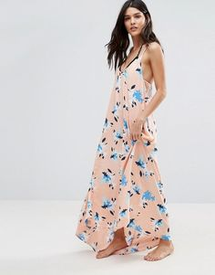 Vince Camuto Patterned Maxi Swing Beach Dress - Pink