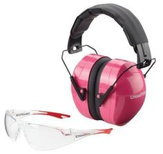 Champion Ballistic Passive Pink Shooting Ear Muffs Eye Protection Glasses Combo