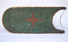 folk art antiques | Antique Country Primitive American Folk Art Sled Original Painted ...