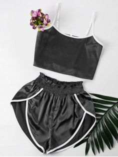 Our casual sets can be worn separately but look better together. So soft satin fabric, offer you ultra-comfortable feel. Combined with a cropped camisole and high-waisted shorts in contrast trimming design. The camisole has adjustable straps. Crop Top Und Shorts, Cami Crop Top, High Waisted Shorts, Cut Shorts, Boho Shorts, Girl Fashion, Fashion Outfits, Trendy Fashion, Lingerie