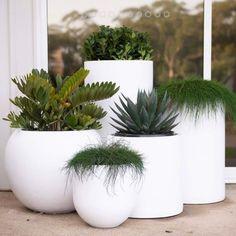 White Planters, Modern Planters, Planter Pots, Outdoor Pots And Planters, Outdoor Flower Pots, Large Garden Planters, Long Planter, Balcony Garden, Garden Pots