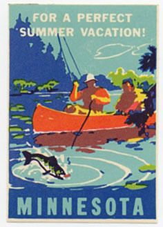 Minnesota-Minneapolis-travel-old-poster-stamp-fishing-canoeing-lithograph