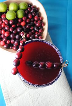 Cranberry Margarita -  Thanksgiving drinks