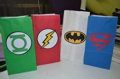 Justice League Favor bags 8 by LittleGreenBalloon on Etsy, $15.00