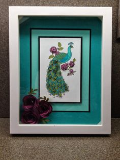 handmade decor: shadow box with Perfect Peacock . luv the purple flowers with the aquas . would also make a delightful card face . Stampin' Up! Box Frame Art, Shadow Box Frames, Box Art, Perfect Peacock, Bird Cards, Scrapbook Cards, Scrapbooking, Handmade Decorations, Craft Fairs