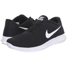 Nike Free RN (Black/Anthracite/White) Women's Running Shoes ($100) ❤️ liked on Polyvore featuring shoes, athletic shoes, nike, lightweight running shoes, flexible running shoes, breathable shoes and black white shoes