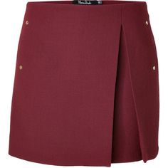 MARIOS SCHWAB Wool Mini Skirt with High Split and Insert in... - Polyvore