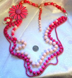 """Hot Pink Lilac Statement Necklace Soft Pink Vintage Celluloid Beads & Enamel Flower Pendant 3 Strand Necklace 40"""" Long Adjustable by NativeBliss on Etsy"""