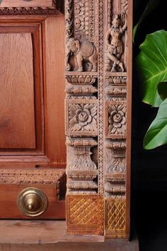 Wooden Main Door Design, Front Door Design, Traditional Doors, Traditional House, Pooja Room Door Design, Wood Carving Designs, Temple Design, Pooja Rooms, Antique Doors