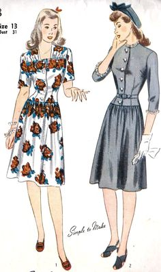Lovely 1940s dresses that would be perfect for those spring into summer months (Simplicity 4578). #vintage #1940s #sewing #pattern #dress