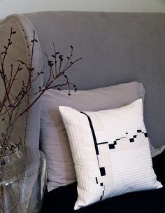 Quilted Bauhaus Japanese Style Pillow Cover 18 X 18 Inches Black White and Cream. $95.00, via Etsy.