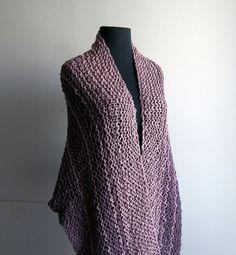 Hand Knit Cotton Prayer Meditation Comfort Shawl Wrap, Plum Mauve, Vegan, Ready to Ship