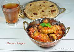 Zesty South Indian Kitchen: Tamatar Wangun (Tamatar baingan) Eggplant cooked in tomato gravy: Kashmiri Style