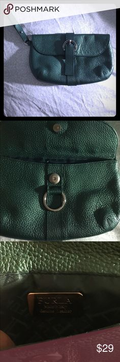 Metallic Green leather Furla clutch purse Medium size clutch in metallic green by Furla. Super cute. Green is versatile, it is the color that blends in w any color clothing. Like new condition. Very easy to use. Super clean, will ship fast. Furla Bags Clutches & Wristlets