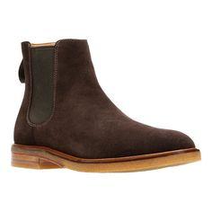 Mens Clarks Suede Elastic Sides Pull On Chelsea Ankle Boots Shoes Clarkdale Gobi 100% Original Men's Shoes