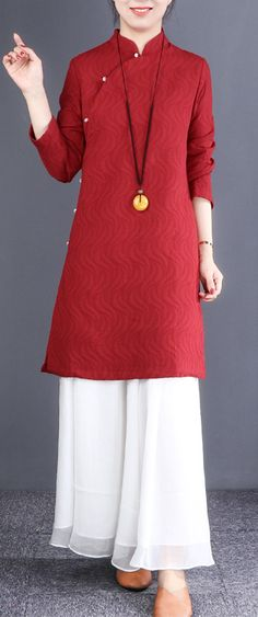 050792ad9d805 French red linen dresses Korea Inspiration stand collar Button Down tunic  Dresses