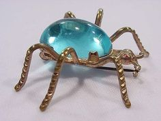 Vintage 1930s Spooky Spider Pin Turqioise Lucite Jelly Belly Halloween Perfect!