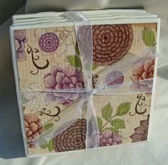 Purple and Brown Floral Handmade Tile by CaffeinatedPapercuts, $8.00
