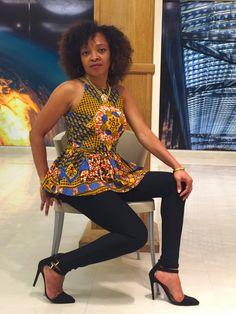 SAMPLE SALE African Print Peplum Top Ankara Top by LadyChang