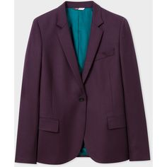 PS Paul Smith Women's Damson Wool-Hopsack Blazer (14.880 RUB) ❤ liked on Polyvore featuring outerwear, jackets, blazers, damson, wool jacket, wool blazer, woolen jacket, ps paul smith and purple jacket