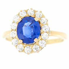 Antique 1.85 Carat No-Heat Sapphire Diamond Gold Ring | From a unique collection of vintage engagement rings at https://www.1stdibs.com/jewelry/rings/engagement-rings/