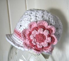 Beanie with brim and Flower