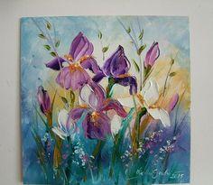 Irises Impression IMPASTO Original Oil Painting Flowers Europe Artist Board #Impressionismimpastopaletteknifetexturedart