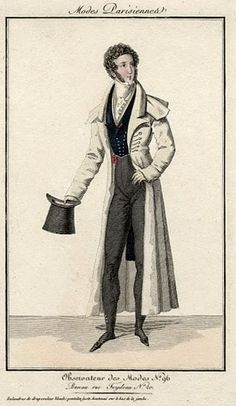 Observateur des Modes n. 96 c. 1820. link has more men's fashion plates from 1800 thru 1820s