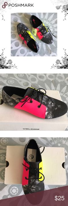 """Volcom 'Soul Mates' Velveteen Lace-Up Flats Manufacturer Color is Acid Grey. Features Neon Pink and Neon Yellow Side Panels. New with box. Heel Height is approx 1/4"""". Front Lace Closure. Fabric Type is Velveteen. Bundle for discounts! Thank you for shopping my closet! Volcom Shoes Flats & Loafers"""