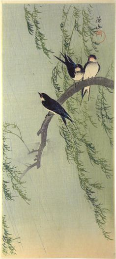 Battledore Print: Swallows on Willow in Rain by Ito Sozan, 1925 Japanese Painting, Chinese Painting, Chinese Art, Japanese Watercolor, Art Chinois, Art Asiatique, Art Japonais, Art Et Illustration, Japanese Prints