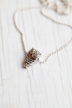 Owl Pendant  Ball chain Small  Cute  Gift for by WhiteLilyDesign, $10.00