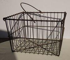 Antique Primitive Large Square Metal Wire Egg Basket w/ Handle Chicken Farm