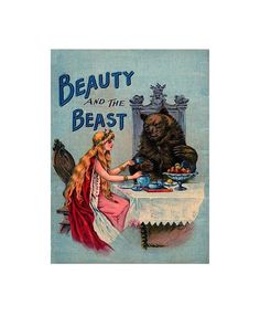"""Vintage Storybook """"BEAUTY and the BEAST"""" Digital Download, Vintage Graphics, LARGE Vintage Sheet Transfer To Totes, Pillows,T-Shirts by ICreateAndCollect on Etsy"""