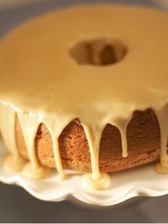 Caramel glaze spills down a brown sugar pound cake. - GREAT recipe for both the cake and the icing.
