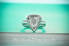 Custom Diamond Ring - Trilliant setting with halo and four rows of accents on the sides Halo, Heart Ring, Gems, Engagement Rings, Diamond, Jewelry, Jewels, Rings For Engagement, Wedding Rings