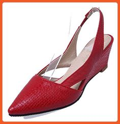 e6f128cde6133 Easemax Women s Trendy Elastic Cut Out Snakeskin Pointed Toe Mid Wedge Heel  Slingback Sandals Red 11.5
