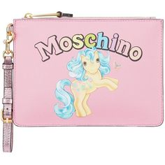 Moschino My Little Pony Printed clutch bag ($255) ❤ liked on Polyvore featuring bags, handbags, clutches, leather purses, moschino purse, genuine leather handbags, comic book and pink purse