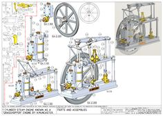 Miniature Steam Engine, Rankine Cycle, Solidworks Tutorial, Drawing Projects, 3d Drawings, Small Engine, Mechanical Engineering, Autocad, Workshop