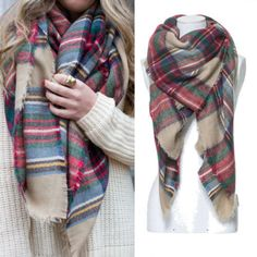 Lady Women Large Tartan Scarf Wrap Shawl Neck Stole Warm Plaid Checked Pashmina in Clothing, Shoes & Accessories, Women's Accessories, Scarves & Wraps | eBay