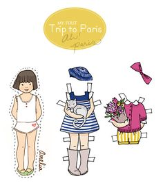 Paper Dolls - PDF Printable - My First Trip to Paris - 6 dolls and outfits. $3.00, via Etsy.