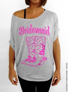 Cowgirl Boots Bridesmaid Slouchy Sweatshirt for your bridal party for a country themed wedding! #bride #to #be #bridetobe #wedding #country #theme #western #texas #southern #love #cowboy #cowgirl #boots #cowboyboots #dress #rustic #bridesmaid #bridesmaidgift #gift