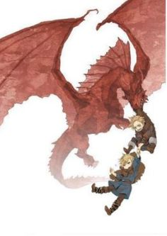 Little Denmark and Norway being taken by a dragon?! - Hetalia