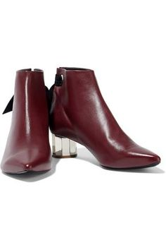 Proenza Schouler Knotted Suede-trimmed Leather Ankle Boots In Burgundy Shoes Boots Ankle, Leather Ankle Boots, Proenza Schouler, World Of Fashion, Luxury Branding, Chelsea Boots, Burgundy, Woman, Heels