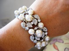 Swarovski pearls and rhinestone