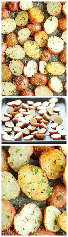 Garlic Parmesan Roasted Potatoes - These buttery garlic potatoes are tossed with Parmesan goodness and roasted to crisp-tender perfection! now I would eat these roasted potatoes Think Food, I Love Food, Good Food, Yummy Food, Tasty, Parmesan Roasted Potatoes, Garlic Parmesan, Baked Potatoes, Parmesan Crusted