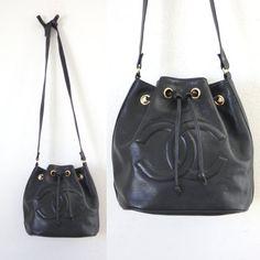 Vintage Chanel Black Leather Bucket Bag