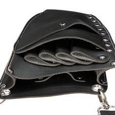 LuckyFine Brown Black Salon PU Leather Rivet Scissors Clips Bag Hairdressing…