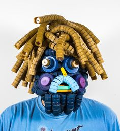 alex lockwood - mask from recycled plastic bottle caps