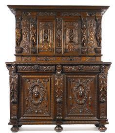 A French Renaissance carved walnut buffet à deux corps part 16th century